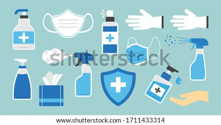 Hygiene. Disinfectant, antiseptic, hand sanitizer bottles, medical mask, washing gel, spray, wipes, antibacterial soap, gloves, napkins. PPE personal protective equipment. Medical insurance. Vector #1711433314