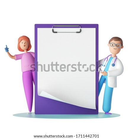 3d render. Cartoon characters doctor and nurse near the big clipboard with blank page. Copy space. Clip art isolated on white background. Professional consultation. Receipt mockup. Medical concept
