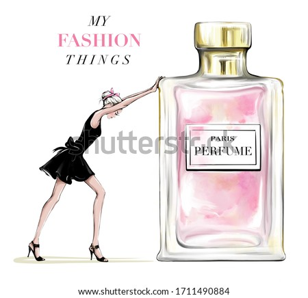 Hand drawn beautiful young woman pushing perfume bottle. Fashion woman in black dress. Stylish girl with bow on her head. Fashion illustration.