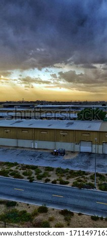 warehouse, perfect sunrise and morning pictures of industrial area of Dubai. cloud seeding is a new trend in Dubai ... are visible in the morning only.