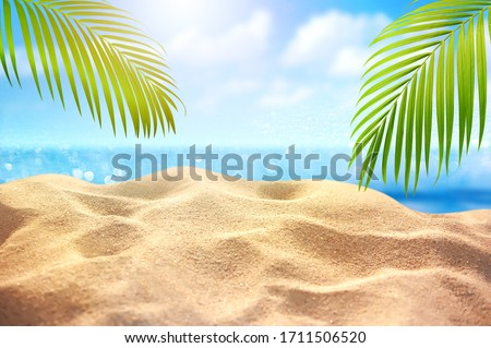 Tropical fine sandy beach with blured sea background and empty space for product advertisement  Montage of summer relaxation background