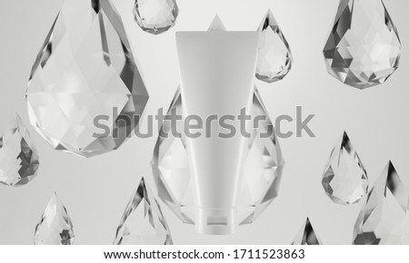 beauty treatment medical skincare cosmetic lotion cream serum mockup bottle packaging product on waterdrop diamon crytal background in healthcare pharmaceutical, 3d illustration rendering #1711523863