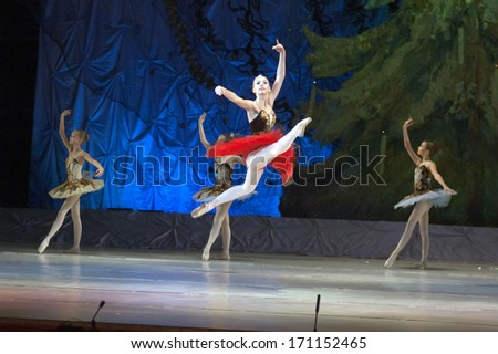 DNEPROPETROVSK, UKRAINE -?? JANUARY 12: Unidentified girls, ages 12-16 years old, perform Ballet pearls at State Opera and Ballet Theatre on January 12, 2014 in Dnepropetrovsk, Ukraine  #171152465