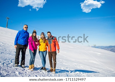 Friends Have Fun At Winter On Fresh Snow #1711529497