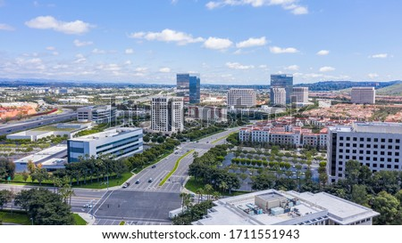 Aerial view of the downtown Irvine, California skyline. #1711551943
