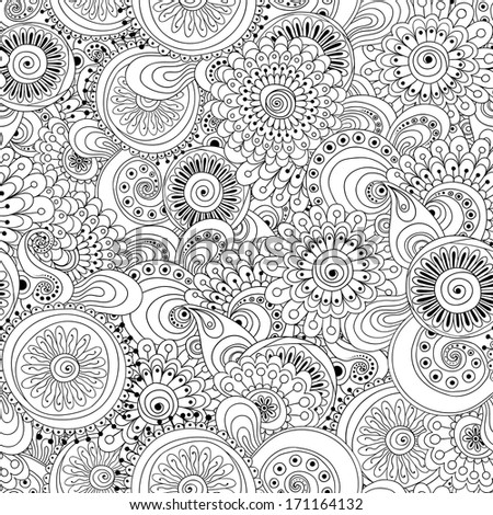 Vector abstract circles, doodle, wave decorative seamless pattern background. Used clipping mask for easy editing. Black and white version.