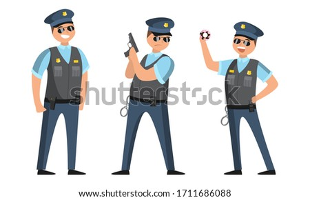 The police officer in black sunglasses standing in different poses with donut and gun. Vector illustration in flat cartoon style