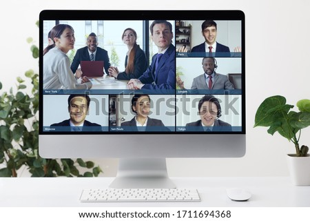 Video conference concept. Telemeeting. Videophone. Teleconference. Royalty-Free Stock Photo #1711694368