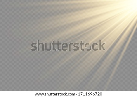 Light flare special effect with rays of light and magic sparkles. Glow transparent vector light effect set, explosion, glitter, spark, sun flash. #1711696720