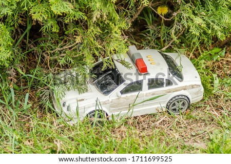 A police car toy under the branches of a foreign plant