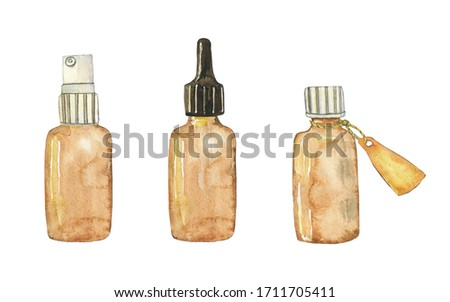 Horizontal set of glass brown bottles for essential oil with label spray and cap isolated on white background. Watercolor hand drawing illustration for cosmetic design. Clip art.