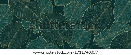 Luxury gold and nature green background vector. Floral pattern, Golden split-leaf Philodendron plant with monstera plant line arts, Vector illustration. Royalty-Free Stock Photo #1711748359