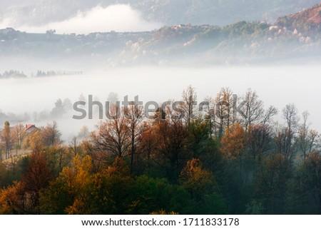 morning foggy landscape in northeastern Bosnia #1711833178