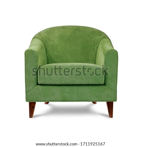 Classic armchair art deco style in lime green velvet with wooden legs isolated on white background. Front view, grey shadow. Series of furniture #1711925167