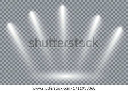 A collection of stage lighting. Large set Bright lighting with spotlights. Spot lighting the scene. #1711933360