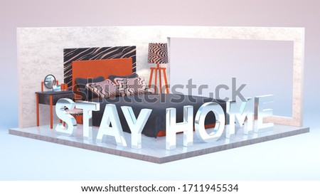 Bedroom 3d design orange modern room interior home design sign stayhome covid-19 coronavirus silver letters symbol grunge wallas stylish bed center abrstract architecture comfort isolation metal white #1711945534