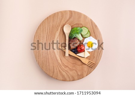 Intermittent fasting. Healthy breakfast, diet food concept. Organic meal. Fat loss concept. Weight loss. Royalty-Free Stock Photo #1711953094