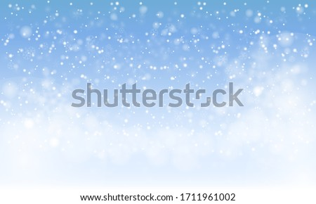 Winter snowfall and snowflakes on light blue background. Cold winter Christmas and New Year background. Vector illustration #1711961002