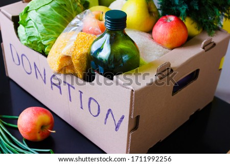 Donation box food delivery During Coronavirus. COVID-19 Relief Funds and Donations. Charity donations #1711992256