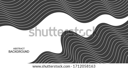 Abstract striped background, poster, banner. Composition of smooth dynamic waves, lines. Trendy design. Vector monochrome illustration in flat style. Royalty-Free Stock Photo #1712058163