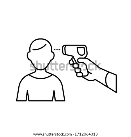 Human body Non-contact infrared IR temperature fever check gun in hand with man outline simple icon vector background