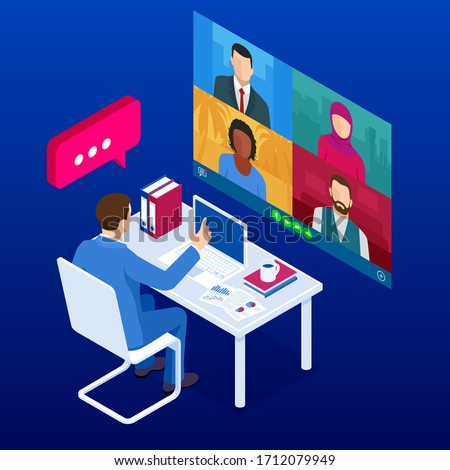 Isometric video conference. Online meeting work form home. Home office. Multiethnic business team. Stay at home and work from home concept during Coronavirus pandemic #1712079949