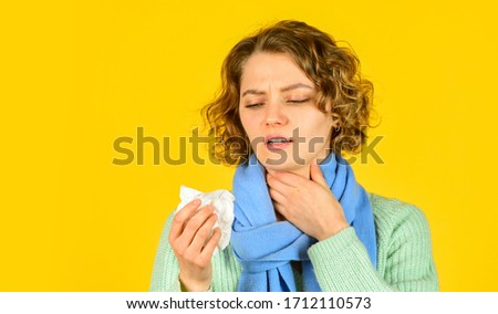 runny nose caused by illness. ill with laryngitis. Acute respiratory viral. sick girl with runny nose. influenza infection and pneumonia. Coronavirus outbreak concept. Symptoms of disease. copy space. Royalty-Free Stock Photo #1712110573