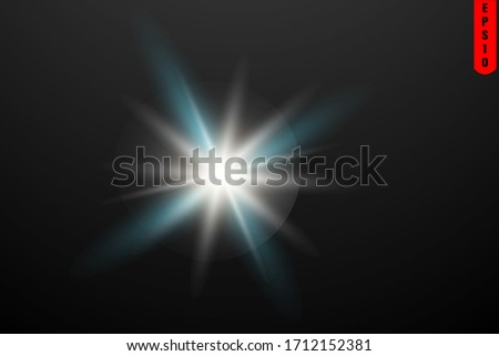 Special lens flash light effect.White glowing light explodes on a transparent background.Transparent shining sun, bright flash.  #1712152381