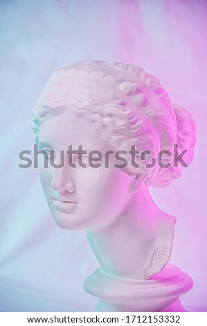 Statue of Venus de Milo. Creative concept colorful neon image with ancient greek sculpture Venus or Aphrodite head. Webpunk, vaporwave and surreal art style. Pink and blue duotone effects.