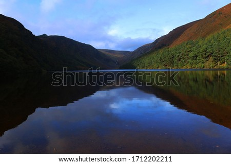 Wicklow National Park, Ireland 2019, natural landscape composed from lake, mountains and blue sky. This original pic comes from a wild travel around Ireland by van. Autumn shot from three girl's eyes.