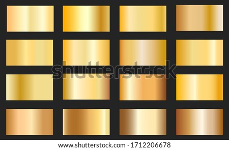 Gold foil texture background set. Vector golden, copper, brass and metal gradient template.Collection of golden metallic gradient. #1712206678