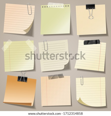 Realistic blank sticky notes with clip binder and adhesive tape. Colored sheets of note papers. Paper reminder. Vector illustration. #1712314858