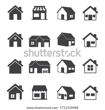 House and store Icon set. home symbol isolated on white background. Vector Illustration.