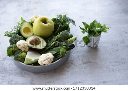 a set of vegetables containing vitamin k, vegan plate of greens #1712330314