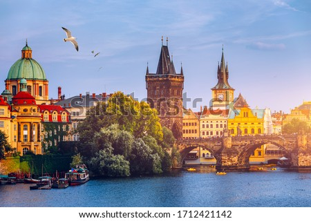 Charles Bridge, Old Town and Old Town Tower of Charles Bridge, Prague, Czech Republic. Prague old town and iconic Charles bridge, Czech Republic. Charles Bridge (Karluv Most) and Old Town Tower. #1712421142