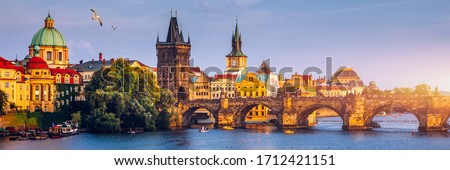 Charles Bridge, Old Town and Old Town Tower of Charles Bridge, Prague, Czech Republic. Prague old town and iconic Charles bridge, Czech Republic. Charles Bridge (Karluv Most) and Old Town Tower. #1712421151