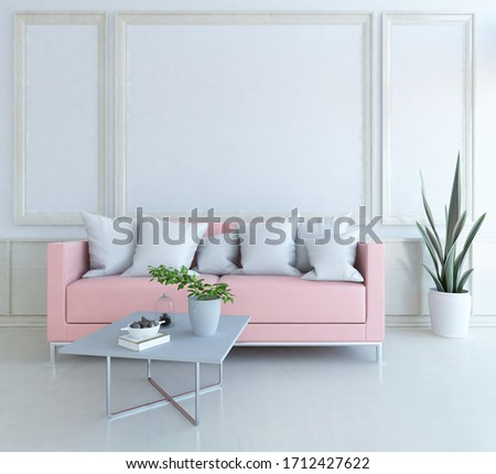 White minimalist living room interior with sofa on a wooden floor, decor on a large wall, white landscape in window. Home nordic interior. 3D illustration #1712427622