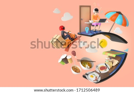 3D illustrator, order shopping online food meal from home. delivery man ride motorbike scooter with box packaging. restaurant in smartphone application, boy work from home. clipping path inside