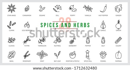 Set of icons Spices and Herbs. Outline illustration vector. Pictogram for web page, mobile app, promo. UI UX GUI design element. Editable stroke. Vector.
