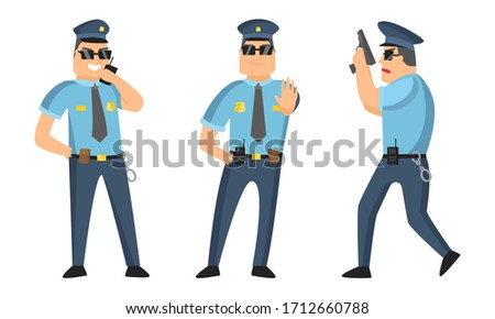 The police officer in black sunglasses standing in different poses with gun and walkie-talkie. Vector illustration in cartoon style