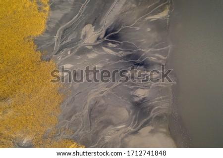 aerial shot of black coal mud settling pond, karvina czech
