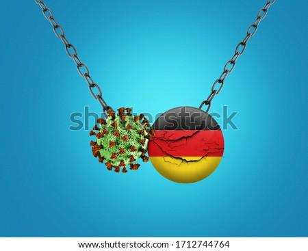 Coronavirus / Corona virus attack concept. Germany cracked- business or economy fall for corona virus. Coronavirus outbreak on Germany and corona virus influenza background. Germany recession concept. #1712744764