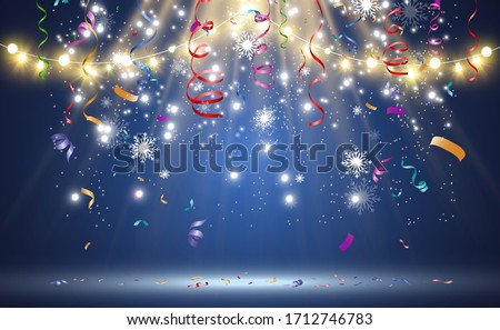 Christmas bright, beautiful lights, design elements. Glowing lights for design of Xmas greeting cards. Garlands, light Christmas decorations. Royalty-Free Stock Photo #1712746783