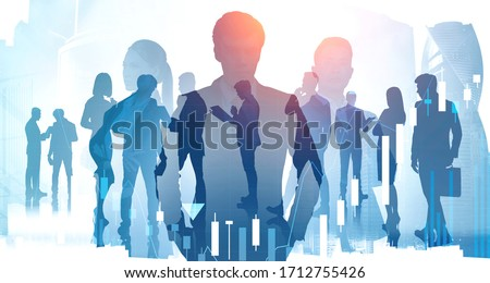 Silhouettes of three diverse confident business people working together in abstract blurry city with creative double exposure effect and their colleagues. Concept of leadership. Toned image