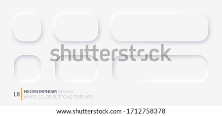 White buttons in Neomorphism design style. Vector illustration EPS 10 Royalty-Free Stock Photo #1712758378