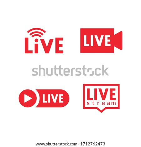 Set of live streaming icons. Red symbols and buttons of live streaming, broadcasting, online stream. Lower third template for tv, shows, movies and live performances. Vector Royalty-Free Stock Photo #1712762473