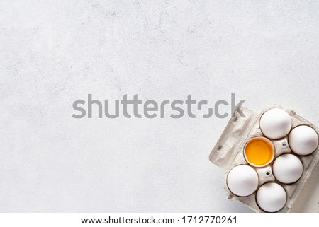 Ingredients for baking and Breakfast on a gray background. Concept: delicious and healthy food. #1712770261
