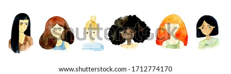 Set of girls of different nationalities. Different skin color, hair. Blonde, brown-haired, red, black hair. Asian, African, European appearance. Girls collection. Watercolor illustration #1712774170