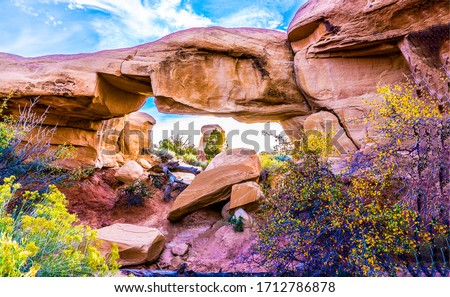 Red rock canyon sandstone arch. Sandstone arch in red rock canyon. Red rock canyon scene. Red rock canyon arch #1712786878