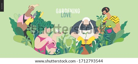 Gardening people, spring - modern flat vector concept illustration of people in the garden wearing aprons and gloves, gardening, watering, planting, cutting branches. Spring gardening concept #1712793544
